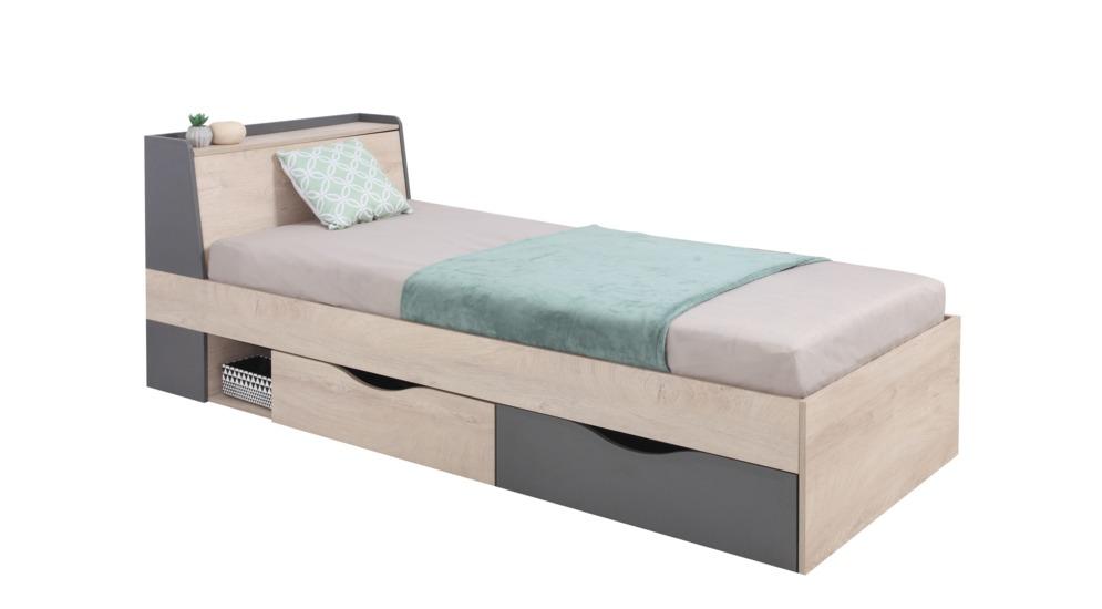 Delta łóżko Z Szufladami I Stelażem 90 System14 Dąbantracyt