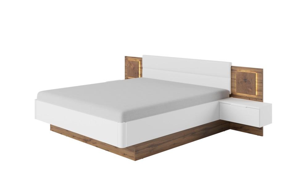 Sierra łóżko 160 Z Szafkami Nocnymi Z Oświetleniem Typ76 Dąb Wotanbiały