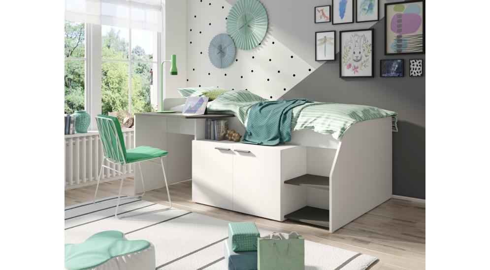 Home łóżko Z Biurkiem I Szafką Typ38 Białyszary Grafit