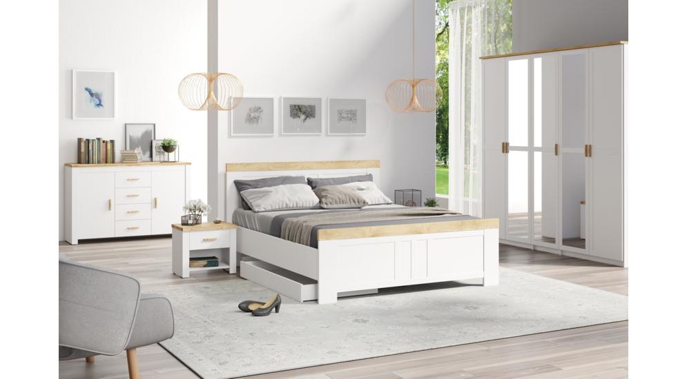 Nicea łóżko 160 Bez Pojemnika Typ 31 Biały Alpejskidąb Wotan