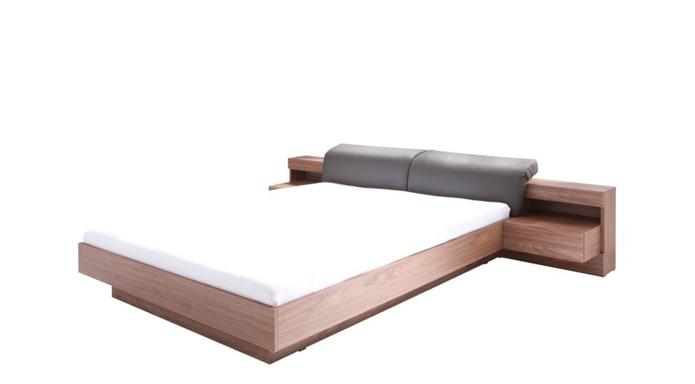 Renato łóżko Z Szafkami Nocnymi Z Oświetleniem Typ8223 Orzechekoskóra Szaraz Pojemnikiem
