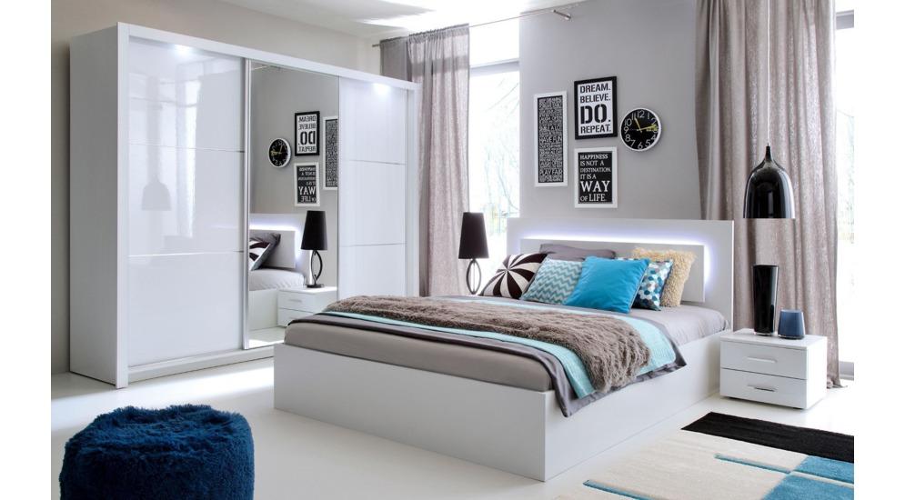 Siena łóżko 160 Typ51 Z Oświetleniem Białybiały Połyskz Pojemnikiem