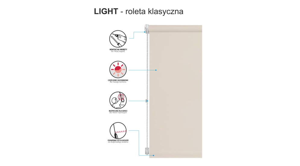 Roleta LIGHT NATURA 90x230 cm