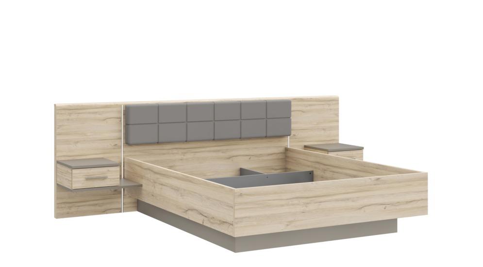 Łóżko BRAGGIA z oświetleniem i szafkami nocnymi