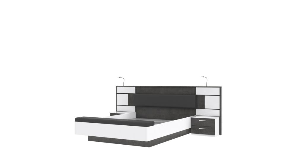 Łóżko FARRA + szafki nocne 4S1K FRRL1163