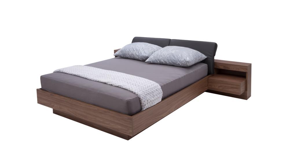 Renato łóżko Z Oświetleniem Typ8123 Orzechekoskóra Szaraz Pojemnikiem
