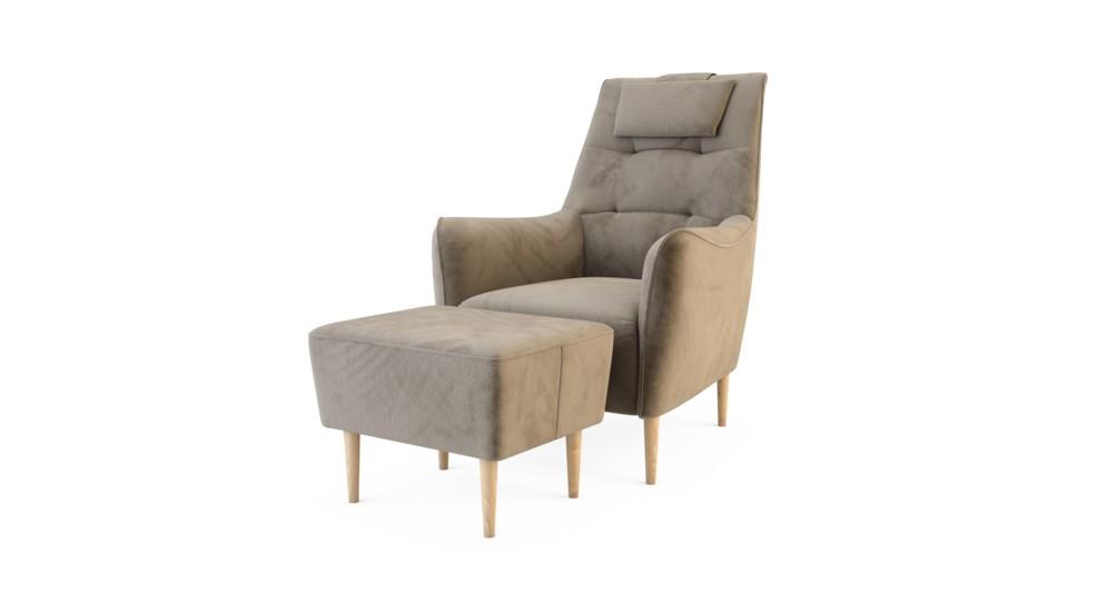 Fotel wypoczynkowy SERENE z hockerem