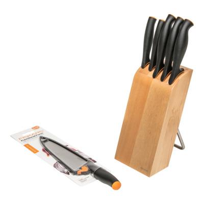 Komplet 5 noży w bloku FISKARS + nóż szefa gratis